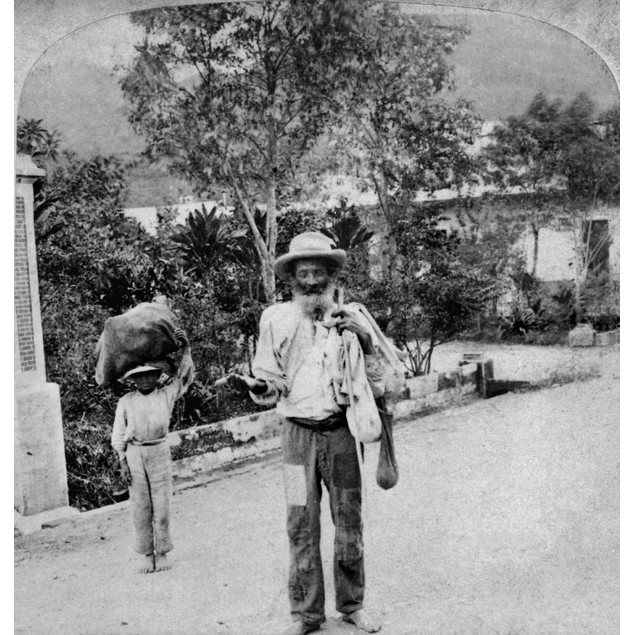 Puerto Rico: Beggar, C1900. /Nan Old Man Begging For Money On A Street In A