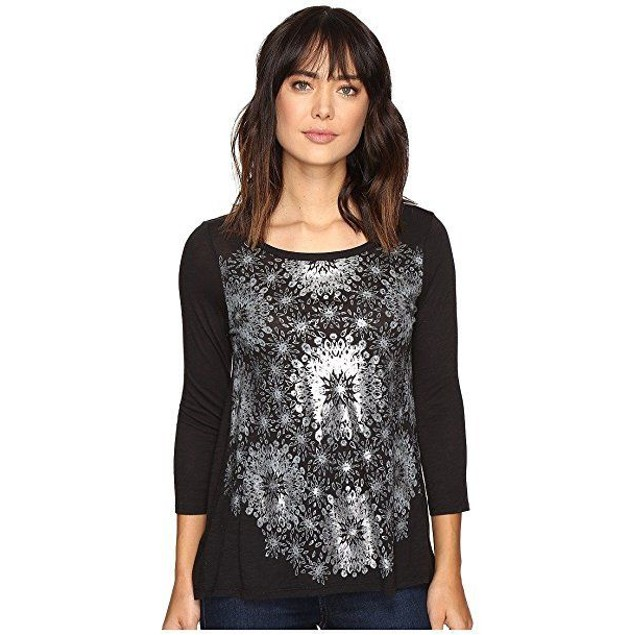 Lucky Brand Women's Circle Tee Silver Multi T-Shirt  Sz XS