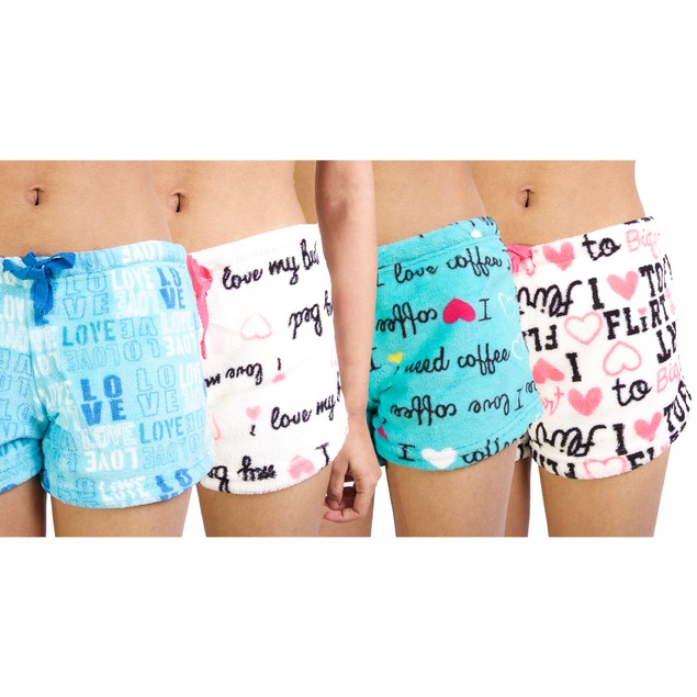 4-Pack Women's Super Soft Printed Plush Shorts
