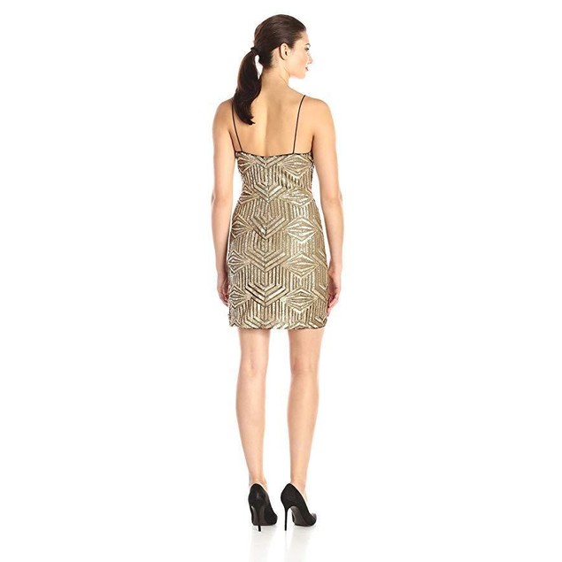 Aidan by Aidan Mattox Women's Sleeveless Beaded Cocktail Dress, Gold, 8