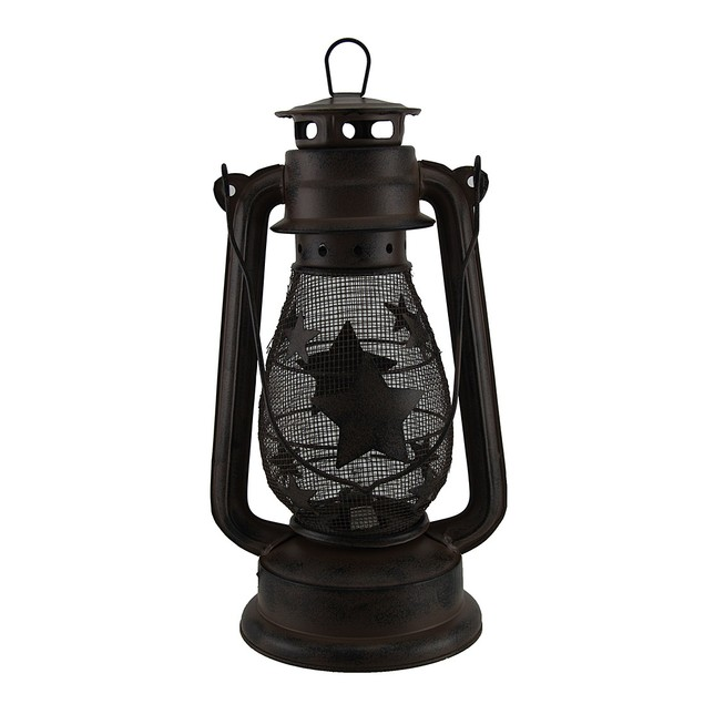 Starry Light Rustic Brown Metal Mesh Electric Outdoor Tabletop Lanterns