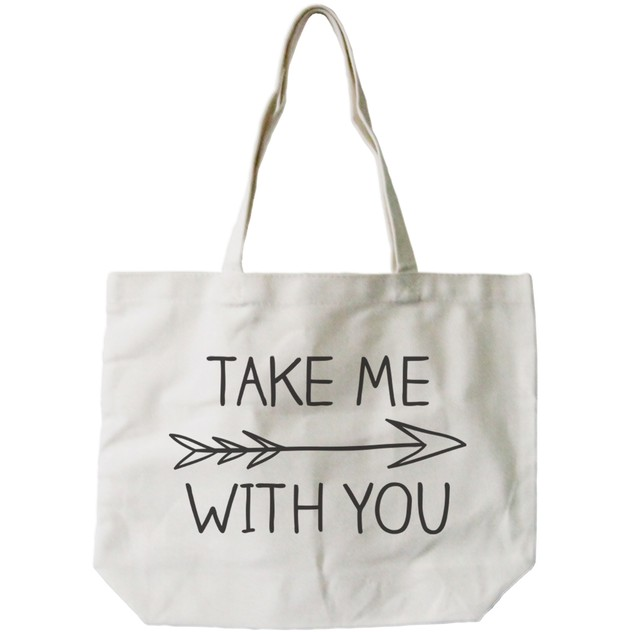 Take Me with You Arrow Sign Natural Canvas Tote Bag