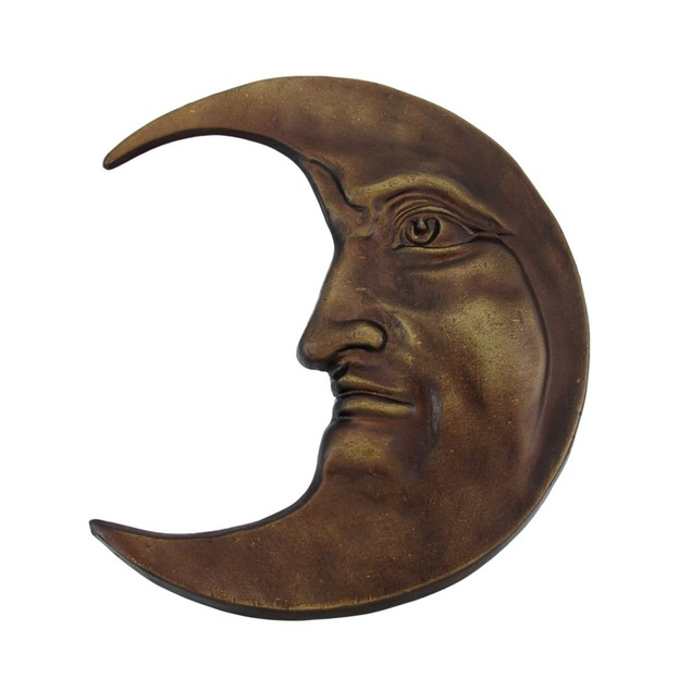 Antique Bronze Finished Cast Iron Crescent Moon Wall Sculptures