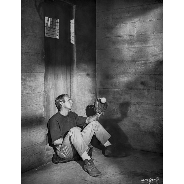 Steve McQueen sitting at the Corner Scene Excerpt from Film in Black and Wh