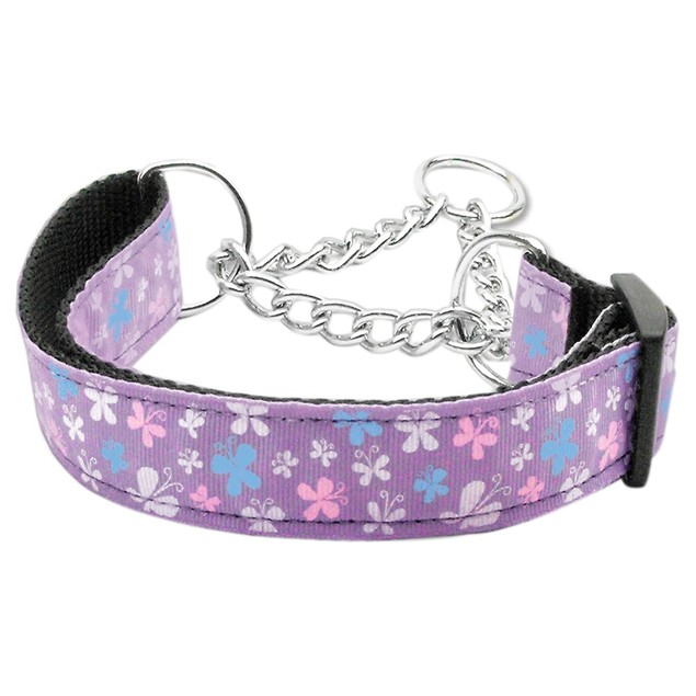 Mirage Pet Butterfly Nylon Ribbon Collar Martingale Lavender Large