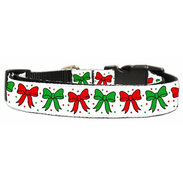 Mirage Pet Christmas Bows Nylon Ribbon Collar Large