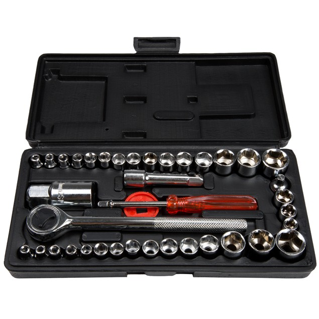 Stalwart 40 Piece 1/4 and 3/8 Drive Socket Set SAE and Metric