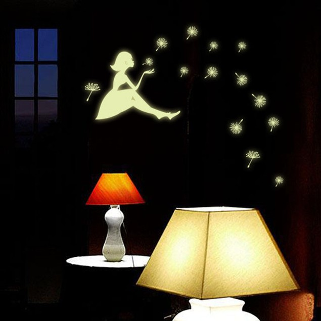 Glow in the Dark Cartoon Dandelion Girl Wall Decal
