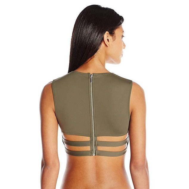 Vince Camuto Women's High Neck Cropped Bikini Top SZ: M