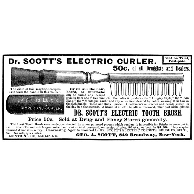 Electric Curler, 1887. /Ndr. Scott'S Electric Curler. American Advertisemen