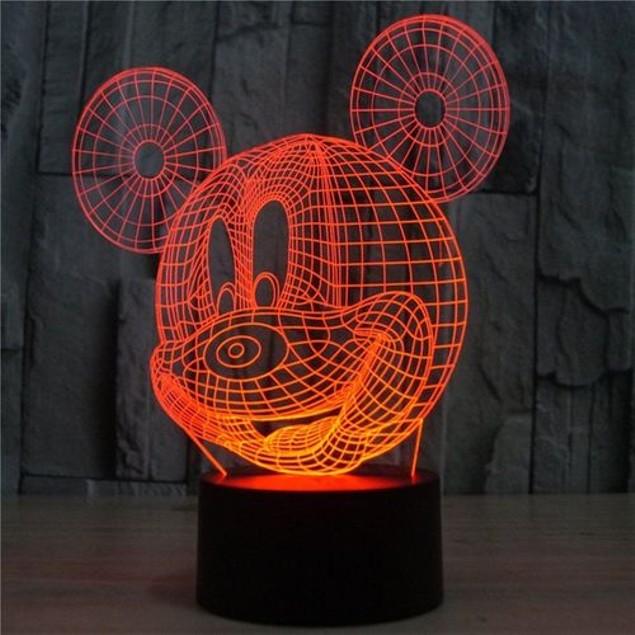 Mickey Mouse Shape 3D Night Light 7 Colors LED Table Lamp