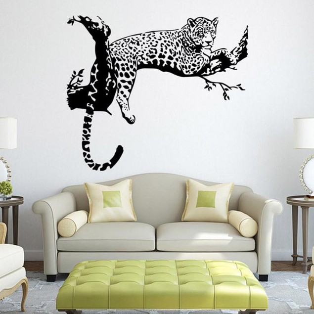 Leopard Wall Stickers Living Room Removable Poster Wallpaper