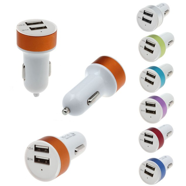 Dual USB Car Charger For iPhone5 6 Nokia Sony LG GPS