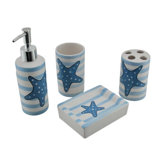 4 Pc Starfish Beach Theme Ceramic Bathroom Set - Blue