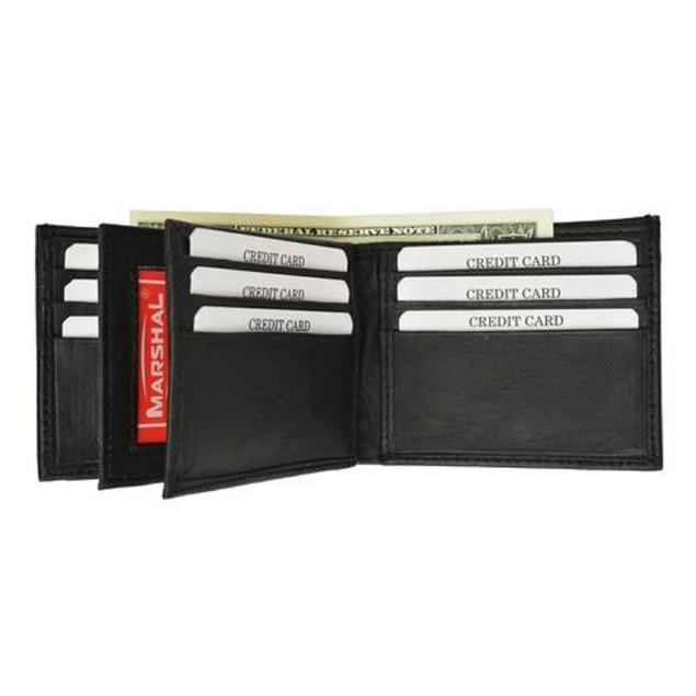 RFID Mens Leather Wallet Black Bifold Fixed Flip 3 Window ID