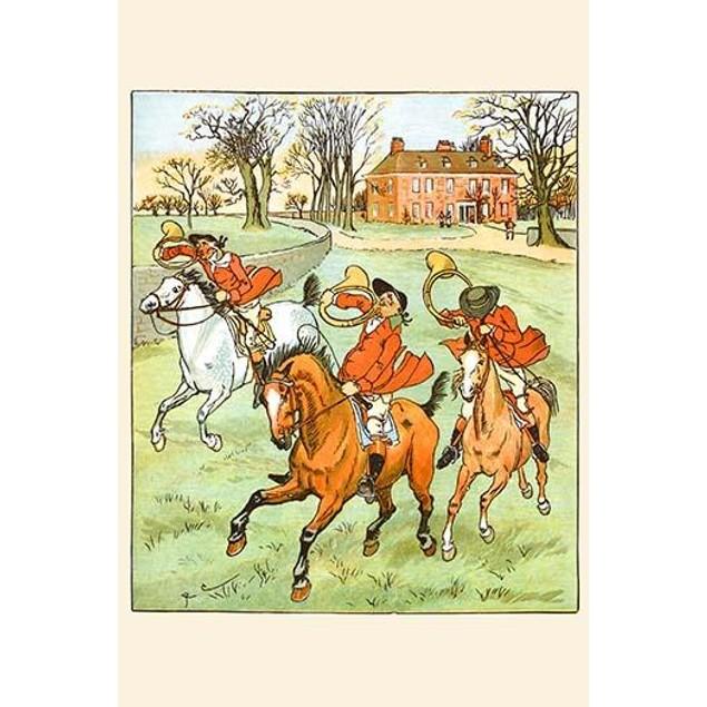 Three Jovial Horsemen tooting their Hunting Horns Poster