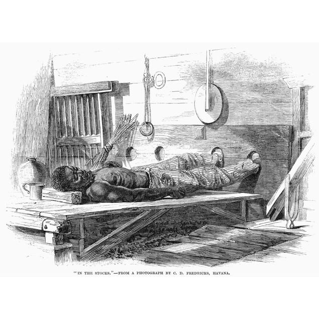 In The Stocks, 1867. /Na Prisoner In The Stocks In Havana, Cuba. American W
