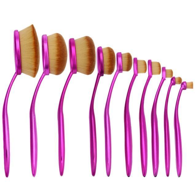 10PCS Toothbrush Eyebrow Foundation Eyeliner Lip Oval Brushes
