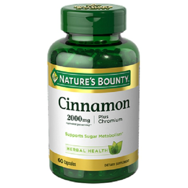 Nature's Bounty High Potency Cinnamon Plus Chromium Capsules