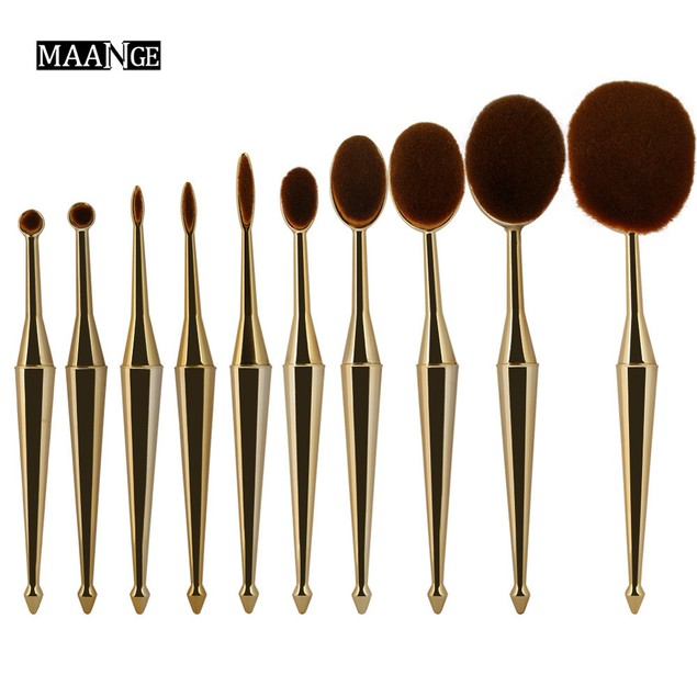 10PCS New Mermaid Makeup Brush Foundation Oval Brushes