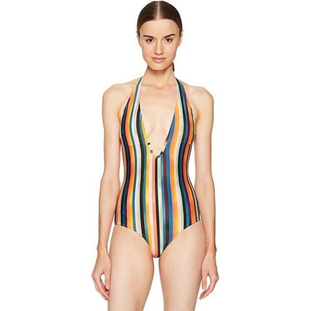 Paul Smith Women's Artist Stripe Halter Swimsuit Multi Swimsuit sz: xl