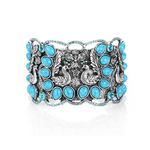 Novadab Trendy Fashion Jewelry Peacock Turquoise Cuff Bracelets For Women