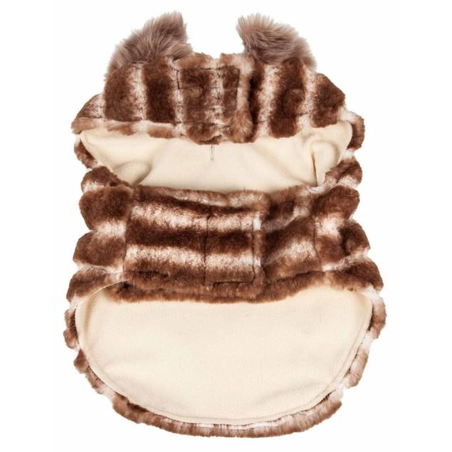 Pet Life Luxe 'Tira-Poochoo' Tiramisu Patterned Mink Dog Coat Jacket