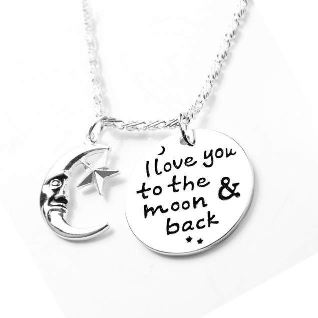 Novadab I Love You To Moon & Back Angel Necklace For Women