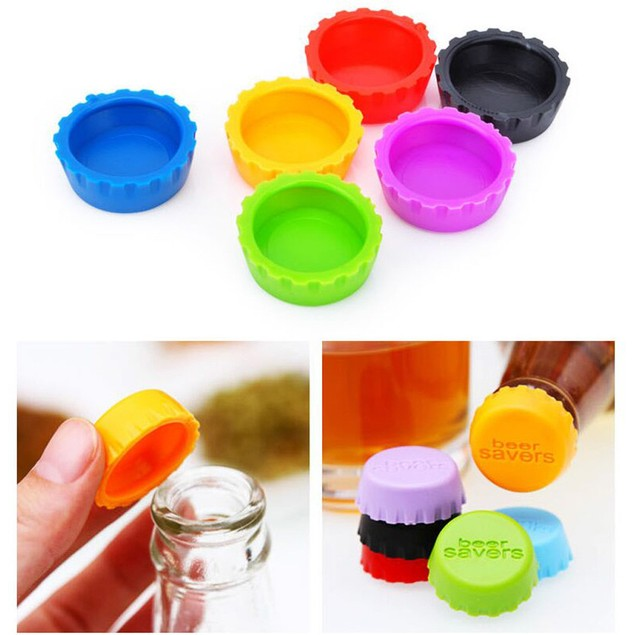 6 Pcs Kitchen Multicolor Silicone Button Beer Wine Plug Bottle Cap Cover