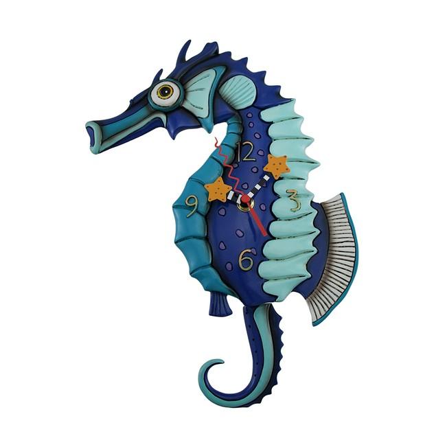 Allen Designs Salty Seahorse Blue Pendulum Wall Wall Clocks