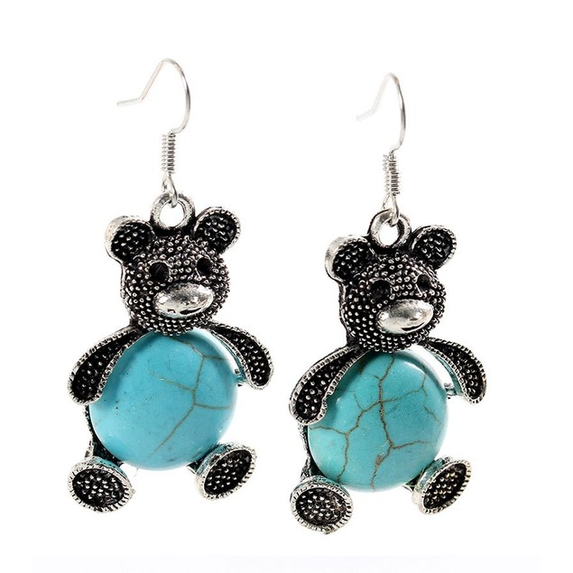 Novadab Cuddly Pave Bear Turquoise Women Earrings