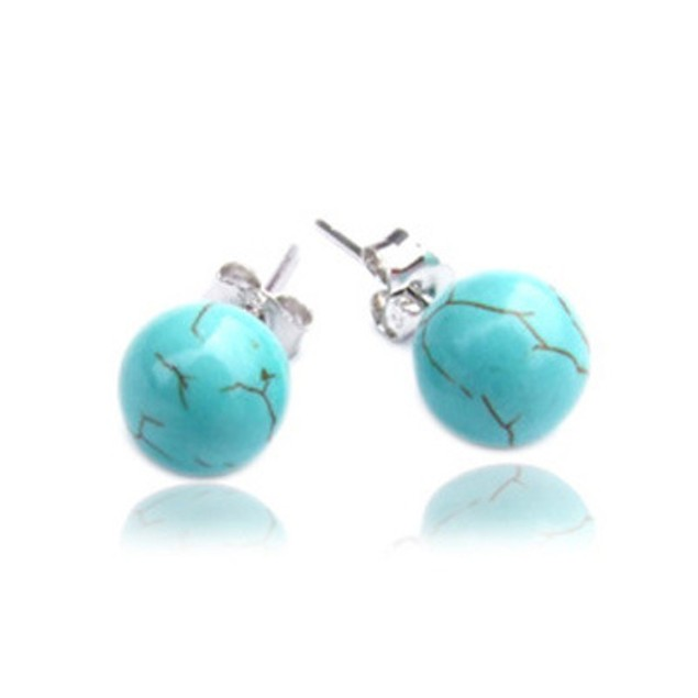 925 sterling silver (solid) Turquoise stud earrings