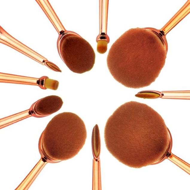 10PC Toothbrush Eyebrow Foundation Eyeliner Lip Oval Brushes