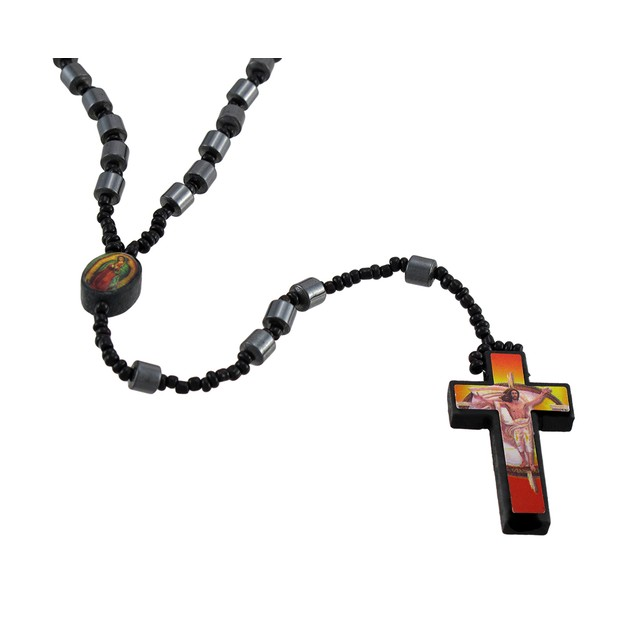 Hematite Barrel Beaded Rosary Printed Graphic Rosary Beads