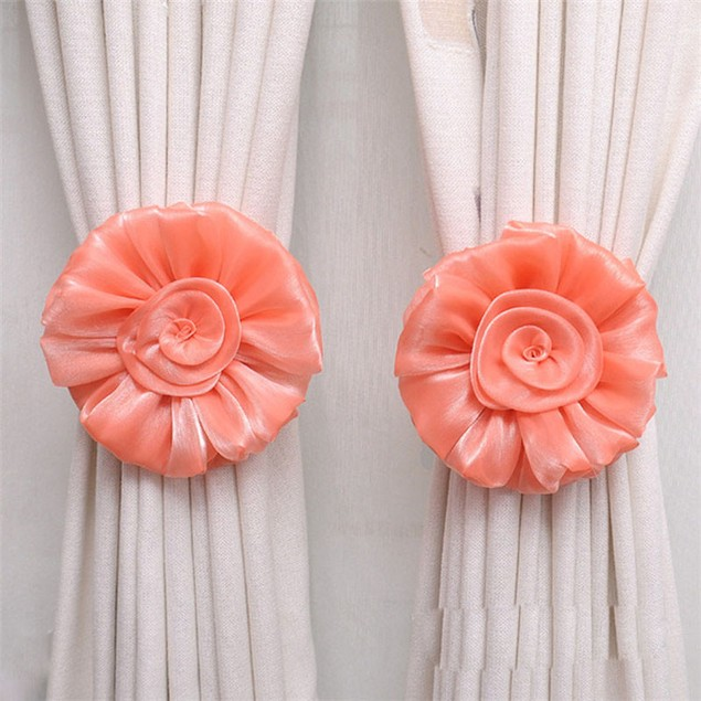 1Pair Rose Flower Window Curtain Tieback Buckle Clamp Hook Fastener