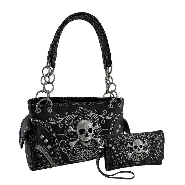 Rhinestone Skull Metallic Trim Concealed Carry Purse Wallet Kits