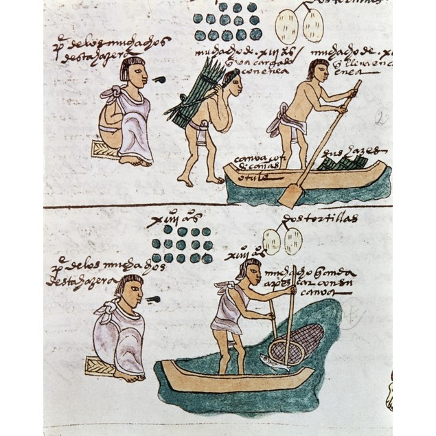 Aztec Daily Life, C1540. /Na Father Teaches His Son How To Carry Firewood,