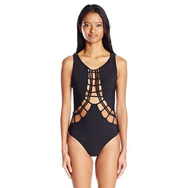 Volcom Women's Salty Air One Piece Swimsuit O3011707 BLACK SIZE L