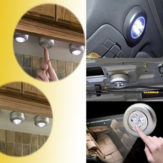 3PC Touch Stick Tap Night LED Light For Cabinet Closet Wall lamp new