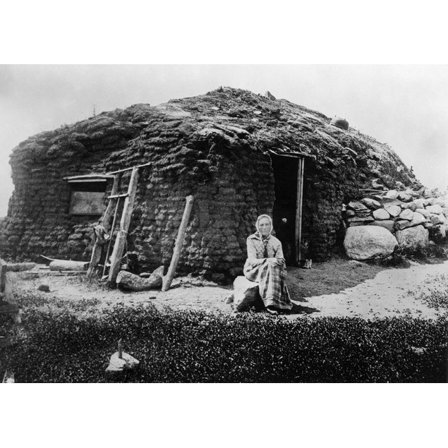 Minnesota: Sod House, C1896. /Nmrs. Beret Hagebak In Front Of Her Sod House
