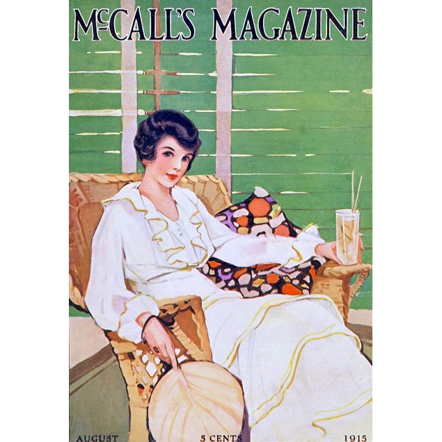 McCall's Cover, Woman relaxing an a rattan chair having a alcoholic drink P