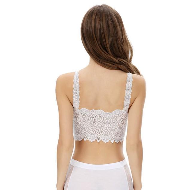 Fashion Women Lace Bra Strap Wrapped Chest Tank Crop Top