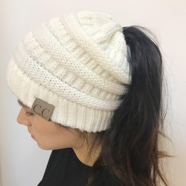 Women Girl Stretch Knit Hat Messy Bun Ponytail Beanie Holey Warm Winter