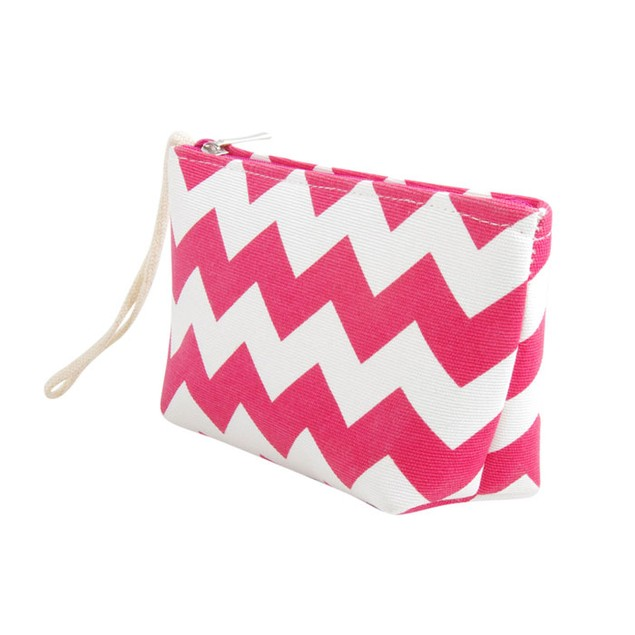 Striped Canvas Shoulder Beach Tote Bag with Pouch