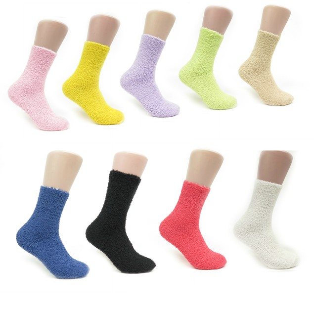 Womens Colorful Soft Microfiber Fuzzy Winter Crew Thermal Socks Value Packs