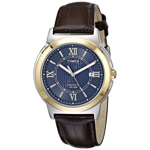 Timex Men's Analog Quartz Silver Tone Brass Brown Leather