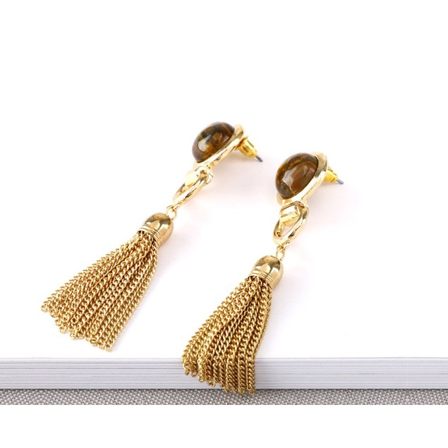 Novadab Solitary Crystal Long Silk Tassel hanging Earrings