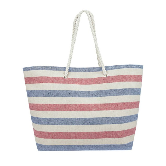 Swan Comfort Striped Canvas Beach Bag - Tote Bag - Inside Lining