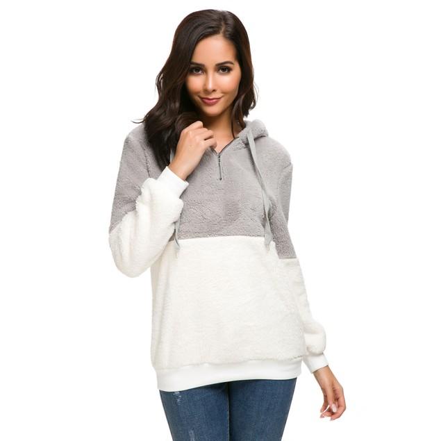 Plush Color Block Pullover Hoodie