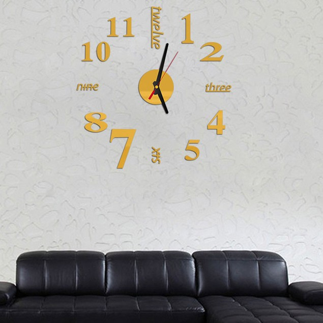 Mini Modern DIY Wall Clock 3D Sticker Design Room Decor